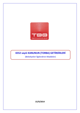 6552 sayılı KANUNUN (TORBA) GETİRDİKLERİ