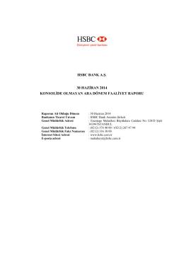HSBC BANK A.Ş. 30 HAZİRAN 2014 KONSOLİDE OLMAYAN ARA