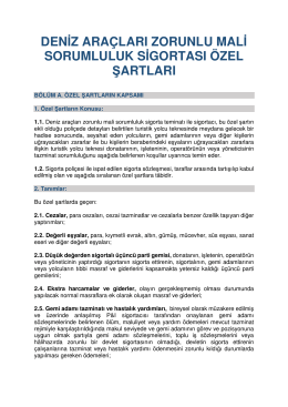 deniz araçları zorunlu mali sorumluluk sigortası özel şartları