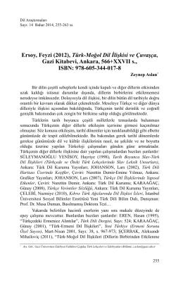 Ersoy, Feyzi (2012), Türk-Moğol Dil İlişkisi ve