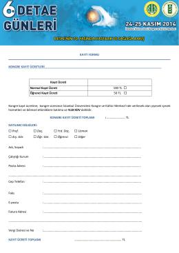Kayıt formu için tıklayınız.
