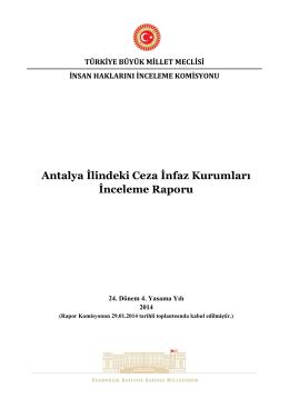 Antalya İlindeki Ceza İnfaz Kurumları İnceleme Raporu