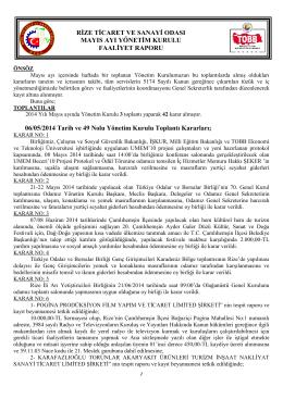 Mayıs 2014 Faaliyet Raporu - Rize Ticaret ve Sanayi Odası