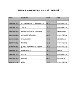 2013-2014 bahar yarıyılı 1. sınıf ıı. vize tarihleri
