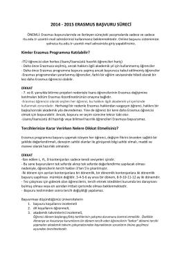 2014 - 2015 ERASMUS BAŞVURU SÜRECİ