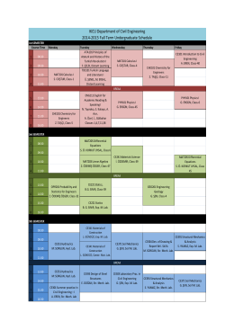 2014-2015 Fall Term Undergraduate Schedule