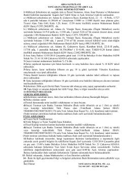 1 (KDV Hariç) 9.393.260,00TL dir. Adana ili, Çukurova ilçesi