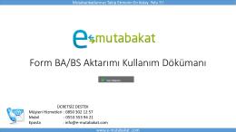 Form BA/BS Aktarımı Kullanım Dökümanı - e