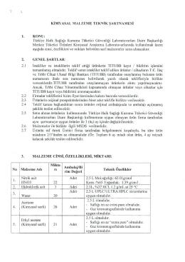 KİMYASAL MALZEME TEKNİK ŞARTNAMESİ 1. KONU: Türkiye