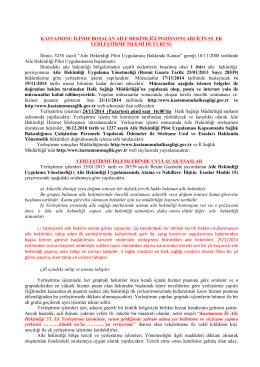 Duyuru yazısı - Kastamonu İl Sağlık Müdürlüğü