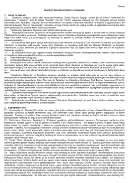 Türkiye Standart Satınalma Hüküm ve Koşulları 1. Amaç ve