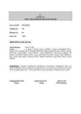 01 Ekim 2014 Meclis Kararı