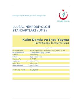 Kalın damla ve ince yayma - Türkiye Halk Sağlığı Kurumu