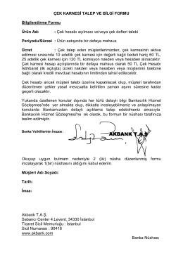 Çek Karnesi Talep Bilgi Formu (Gerçek Kişi)