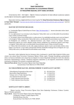 2014-2015 Uluslararası EK YERLEŞTİRME tr