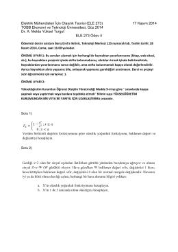 Elektrik Mühendisleri İçin Olasılık Teorisi (ELE 273