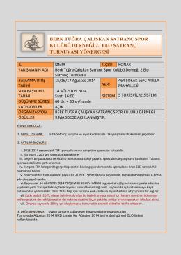 2. Elo Turnuvası Yönergesi - Berk Tuğra Çalışkan Satranç Spor