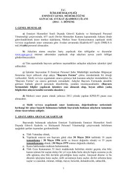 2014 – 1. dönem - Emniyet Genel Müdürlüğü
