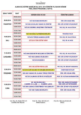 2013-2014 öğretim yılı bahar dönemi final sınav programı
