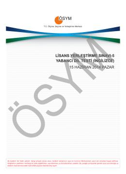 LİSANS YERLEŞTİRME SINAVI-5 YABANCI DİL TESTİ (İNGİLİZCE
