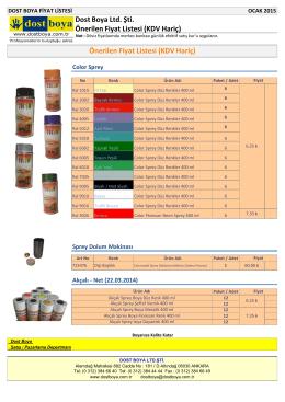 Önerilen Fiyat Listesi (KDV Hariç) Dost Boya Ltd. Şti. Önerilen Fiyat