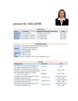 Lecturer Dr. Tülin ÇETİN - Celal Bayar Üniversitesi