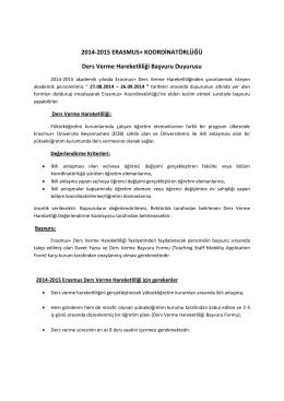 2014-2015 ERASMUS+ KOORDİNATÖRLÜĞÜ Ders Verme