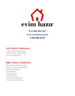 """""""Eve Dair Her Şey"""" www.evimhazir.com.tr 0 850 885 03 09 Ana"""