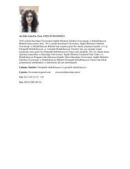 Fax: 0312 305 20 12 - Fizik Tedavi ve Rehabilitasyon Bölümü