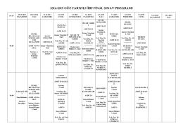 2014-2015 Güz Yarıyılı İ.İ.B.F. Final Sınavı Programı