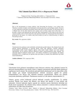 Yük Tahmini İçin Hibrit (Ysa Ve Regresyon) Model