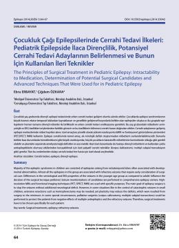 Çocukluk Çağı Epilepsilerinde Cerrahi Tedavi İlkeleri