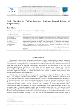 Skill Education in Turkish Language Teaching: Gradual Release of