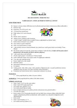 1.Sınıf 2014- 2015 ders yılı ihtiyaç listeleri