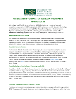 assistantship for master degree in hospitality management