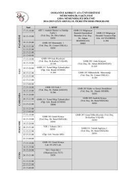 GIDA 2014 GÜZ 2.ÖĞRETİM - Mühendislik Fakültesi