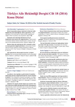 PDF - Türkiye Aile Hekimliği Dergisi Cilt 18 (2014) Konu Dizini