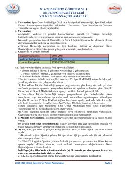2014-2015 yelken branş açıklamaları