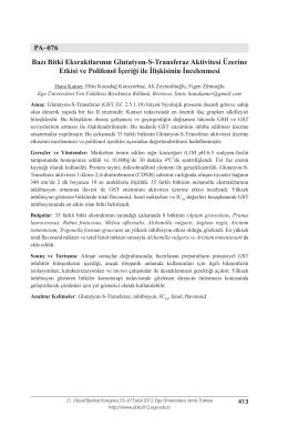 PA–076 Bazı Bitki Eksraktlarının Glutatyon-S