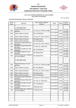 2014-2015 Eğitim Öğretim Yılı Güz Yarıyılı hazırlık sınıflarına ait