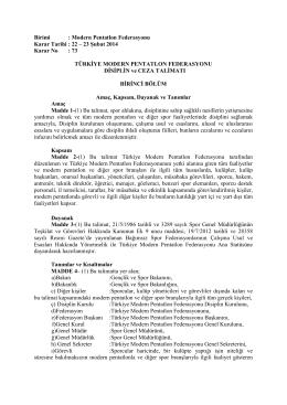 Ceza Talimatı - TÜRKİYE Modern Pentatlon Federasyonu