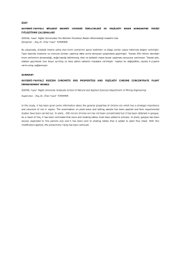 Kayseri-Yahyalı bölgesi kromit cevheri özellikleri ve Yeşilköy Krom