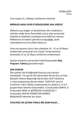 Tüm maçlar 21 -22Mayıs tarihlerine ertelendi BİRİMLER ARASI