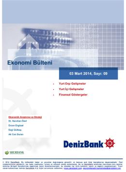 Yurt Dışı Gelişmeler DenizBank Ekonomi Bülteni 03