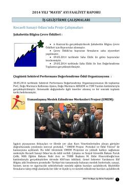 Mayıs 2014 Faaliyet Raporu İndir