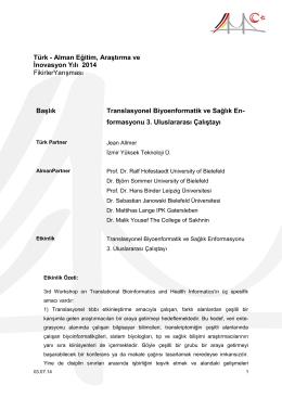 Translasyonel Biyoenformatik ve Sağlık Enformasyonu 3