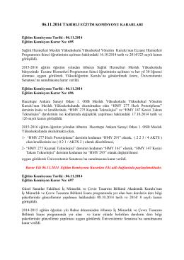 06.11.14 tarihli Eğitim Komisyonu Kararları