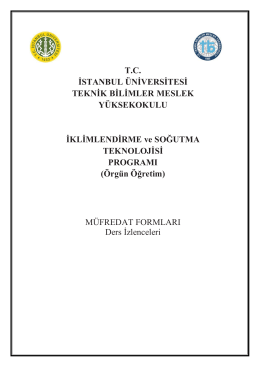 Turkce Ders Mufredat - Teknik Bilimler Meslek Yüksekokulu