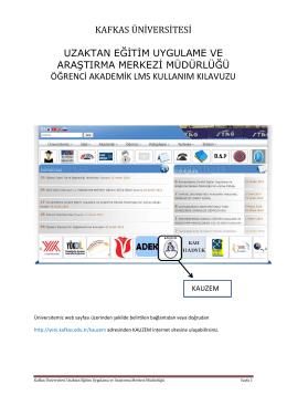 LMS Kullanım Klavuzu - Kafkas Üniversitesi