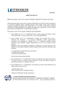 20.10.2014 Katma Değer Vergisi Genel Uygulama